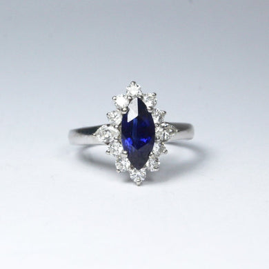 18ct White Gold 1ct Marquise Cut Royal Blue Sapphire and Diamond Ring