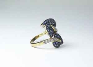 10ct Yellow Gold Sapphire and Diamond Cocktail Ring