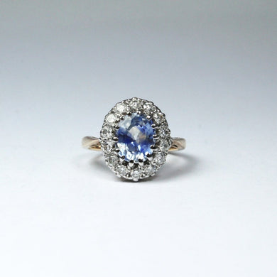 Antique 18ct Yellow Gold 2.30ct Ceylon Sapphire and Diamond Ring