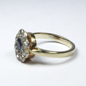 Antique 18ct Yellow Gold Natural Sapphire and Old Cut Diamond Daisy Cluster Ring
