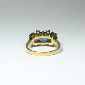 18ct Yellow Gold Natural Ceylonese Sapphire and Diamond Bridge Ring