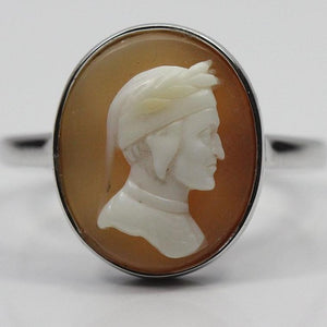 9ct white gold Conch Shell Cameo figure of Philosopher Dante Bezel Set Ring