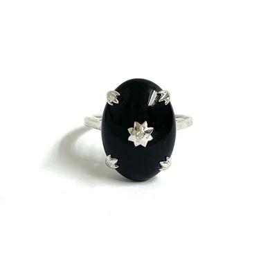 9ct White Gold Onyx And Diamond Dress Ring