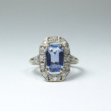 9ct White Gold 2ct Ceylonese Sapphire and Diamond Ring