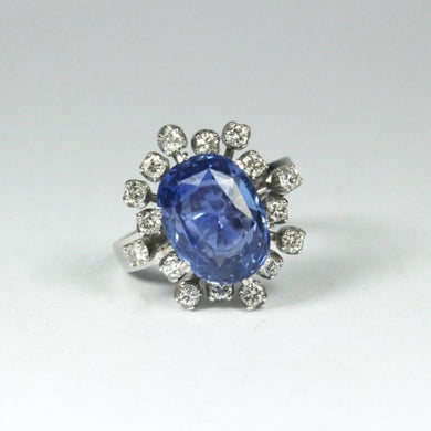 18ct White Gold 5.67ct Ceylon Sapphire and Diamond Cocktail Ring