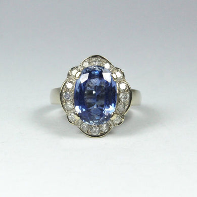18ct White Gold 4.13ct Sapphire and Diamond Dress Ring
