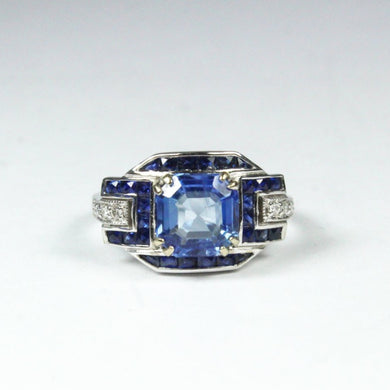 9ct White Gold 2.5ct Ceylon Sapphire and Diamond Dress Ring