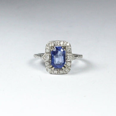 9ct White Gold 2ct Ceylon Sapphire and Diamond Dress Ring