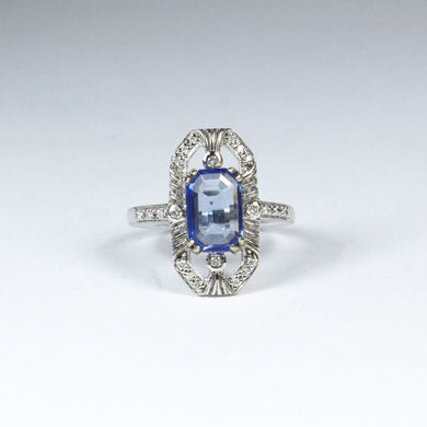 9ct White Gold 2ct Sapphire and Diamond Dress Ring