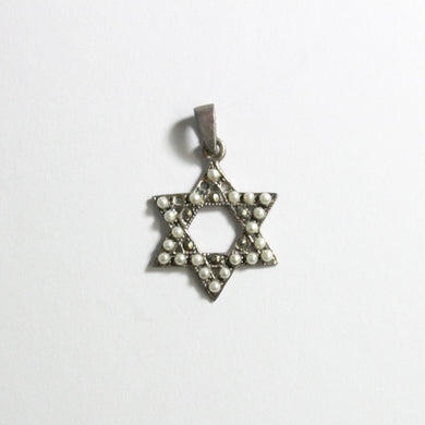 Sterling Silver Star of David Seed Pearl and Marcasite Pendant