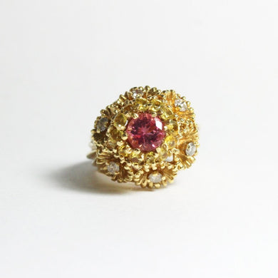 Vintage 18ct Yellow Gold Pink and Yellow Sapphire Dress Ring