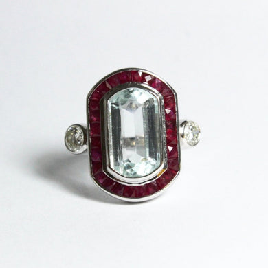 9ct White Gold 4.6ct Aquamarine, Diamond and Ruby Cocktail Ring