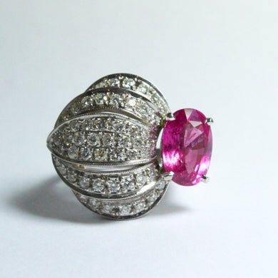 9ct White Gold 5.2ct Natural Pink Sapphire and Diamond Ring