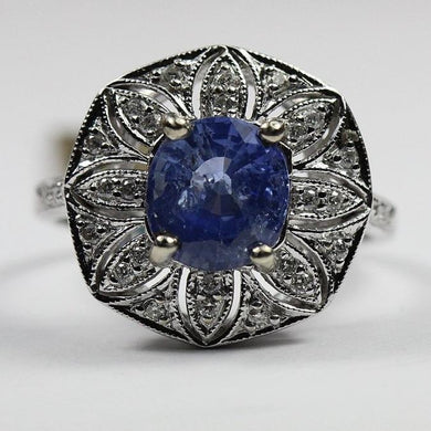 9ct White Gold 3ct Sapphire and Diamond Floral Dress Ring