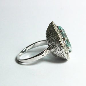 9ct White Gold 11.09ct Natural Aquamarine and Diamond Cocktail Ring