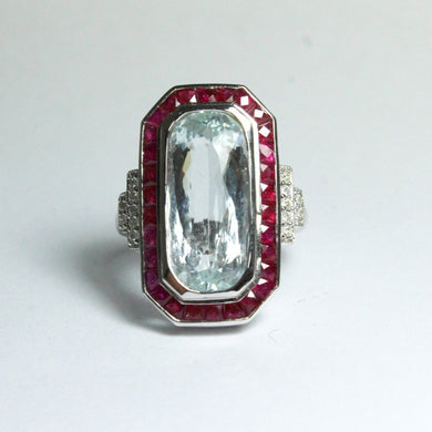 9ct White Gold 7.34ct Aquamarine, Ruby and Diamond Cocktail Ring