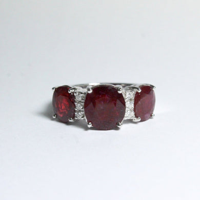 9ct White Gold 3ct+ Ruby and Diamond Trilogy Ring