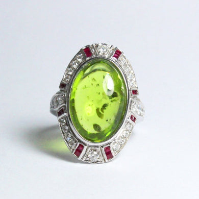 9ct White Gold Cabochon Peridot, Diamond and Ruby Cocktail Ring