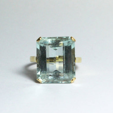 Antique 18ct Yellow Gold 11.61ct Aquamarine Antique Dinner Ring
