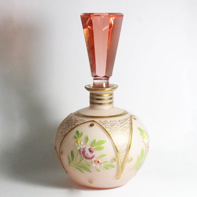 Antique Saturn Pink Glass Perfume Decanter Bottle