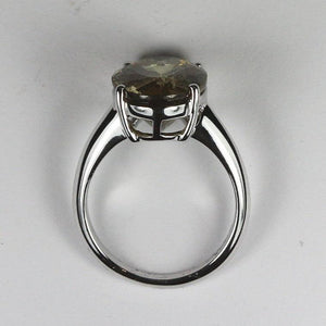 9ct white gold dravite tourmaline oval claw set ring (5ct)