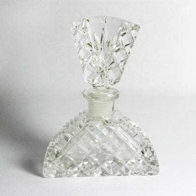 Antique Clear Lead Crystal Faceted Perfume Decanter Bottle