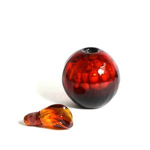 Burnt Red Art Glass Perfume Decanter Bottle
