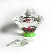 Miniature Clear, Green and Pink Art Glass Perfume Decanter Bottle