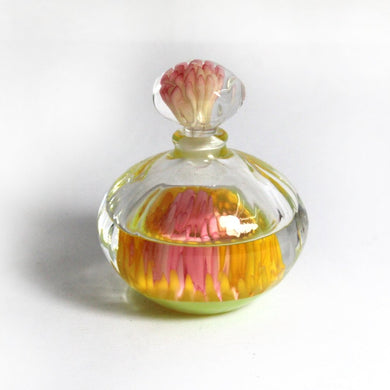 Miniature Pink, Yellow and Opalescent Art Glass Perfume Decanter Bottle