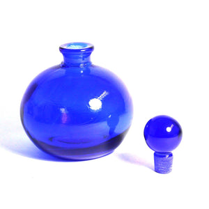 Vintage Bristol Blue Glass Circular Perfume Decanter Bottle
