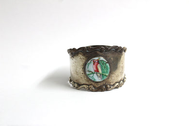 Sterling SilverAustralian Serviette Ring featuring a Galah in an enamel Motif