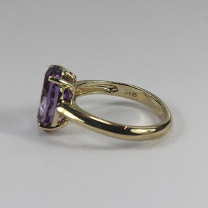 9ct yellow gold four clawset amethyst oval ring (4.5ct)