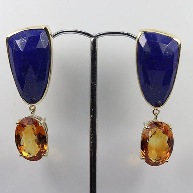 9ct Yellow Gold Lapis Lazuli and 7ct Citrine Stud Drop Earrings