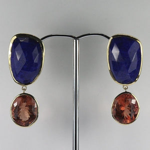 9ct Yellow Gold Lapis Lazuli 5ct Watermelon Tourmaline Bezel Set Stud Drop Earrings