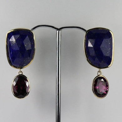9ct Yellow Gold Lapis Lazuli 3ct Mulberry Garnet Stud Drop Earrings