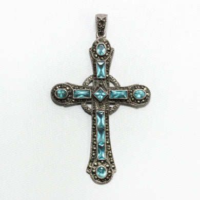 Sterling Silver Crystal and Marcasite Cross Pendant