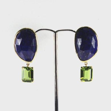 9ct Yellow Gold Lapis Lazuli and 4ct Peridot Stud Drop Earrings
