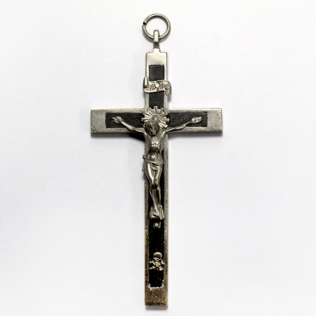 Sterling Silver and Ebony Crucifix Pendant