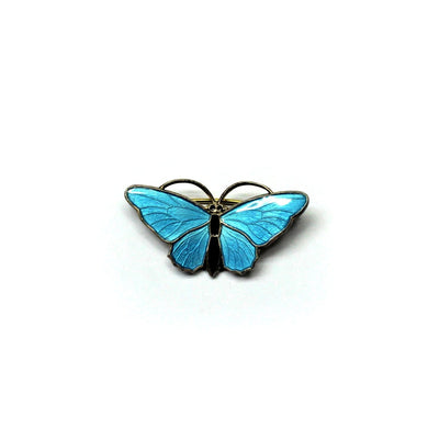 Vintage Sterling Silver Light Blue and Black Enamel Butterfly Brooch