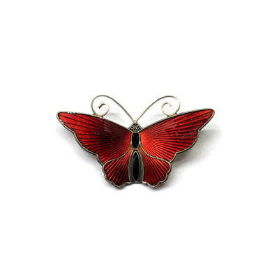 Vintage Sterling Silver Red and Black Enamel Butterfly Brooch