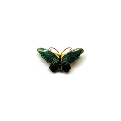 Vintage Sterling Silver Green and Black Enamel Butterfly Brooch