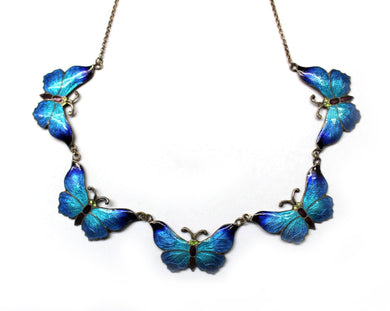 Vintage Sterling Silver Blue Blend Butterfly Collar Necklace