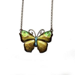 Vintage Sterling Silver Blended Green and Yellow Enamel Butterfly Pendant