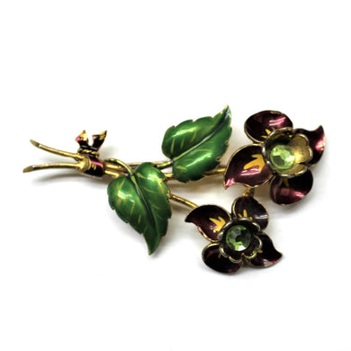 Vintage Sterling Silver Back Tulip, Plum and Green Enamel and Crystal Flower Brooch