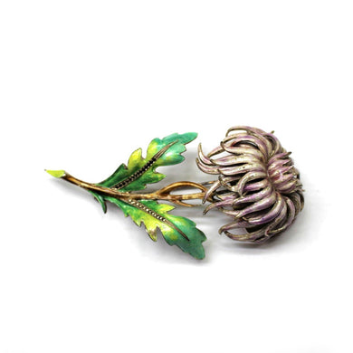 Sterling Silver Pale Pink and Green Enamel and Marcasite Dandelion Brooch