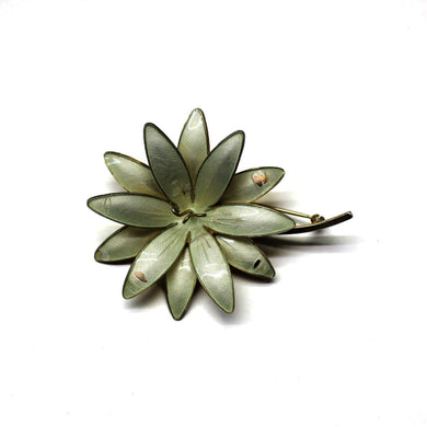 Vintage Sterling Silver Large White Enamel Daisy Brooch