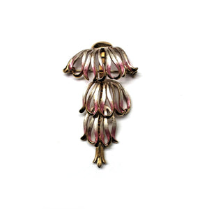 Vintage Sterling Silver Pink and Gold Blend Enamel Daisy Brooch