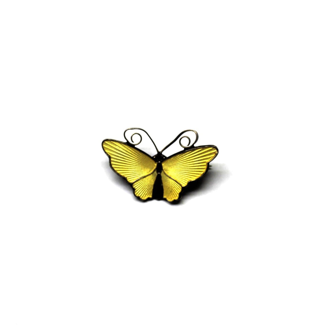 Vintage Sterling Silver Yellow Enamel Butterfly Brooch