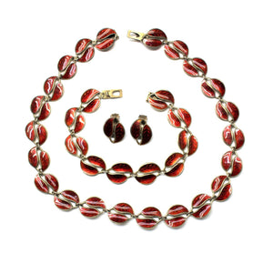Vintage 'David Andersen' Sterling Silver Red Enamel Jewellery Set