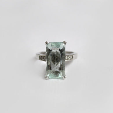 9ct White Gold Baguette Aquamarine and Diamond Dress Ring